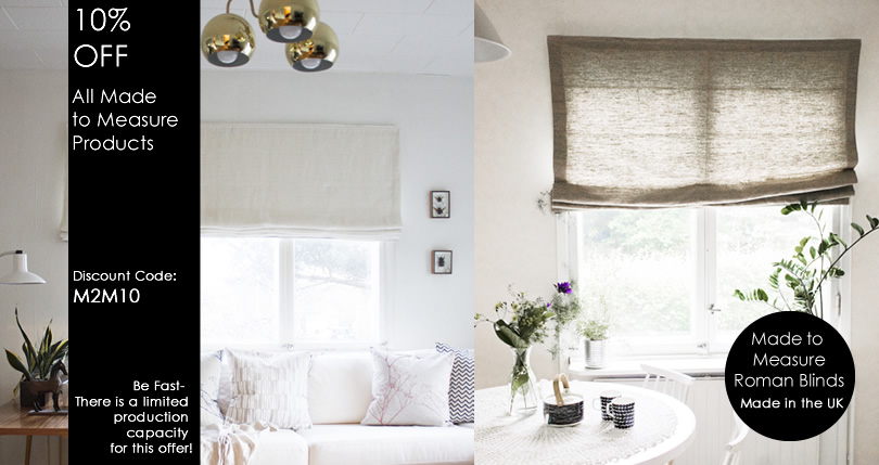Linen Curtains and Linen Roman Blinds - Bespoke