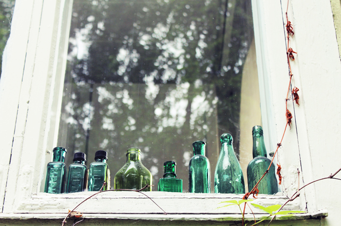 Window with a lovely collection of bottles