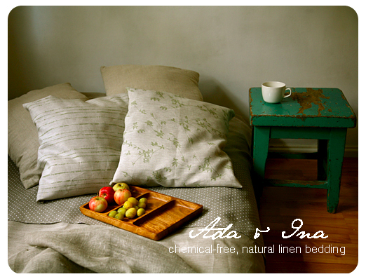 Designer bedding from Ada & Ina natural linen fabrics