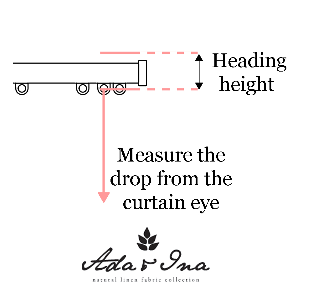Measuring the heading height and the curtain drop - Ada & Ina