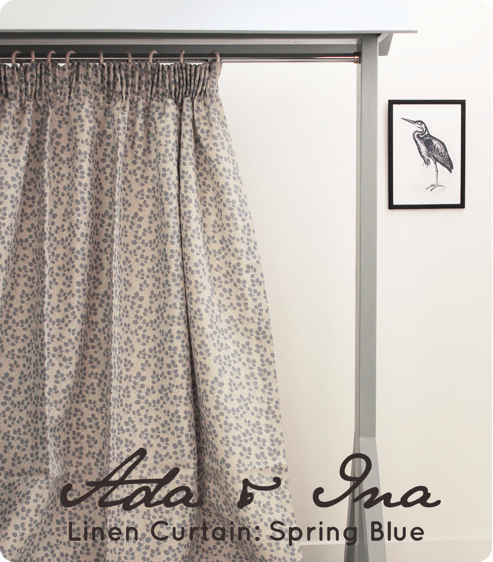 Pencil pleat curtains: Spring Blue