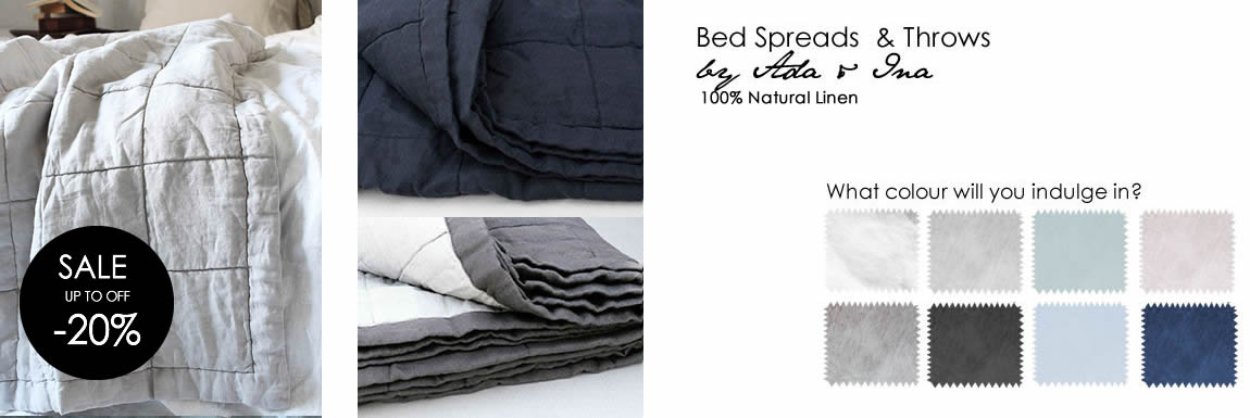 Linen Bed throws / Bedspreads in lovely colours